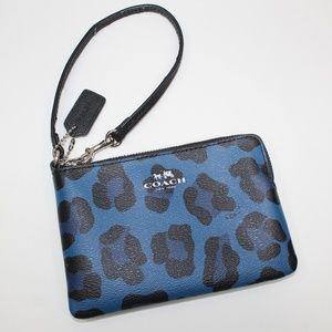 Coach Blue Cheetah Wristlet